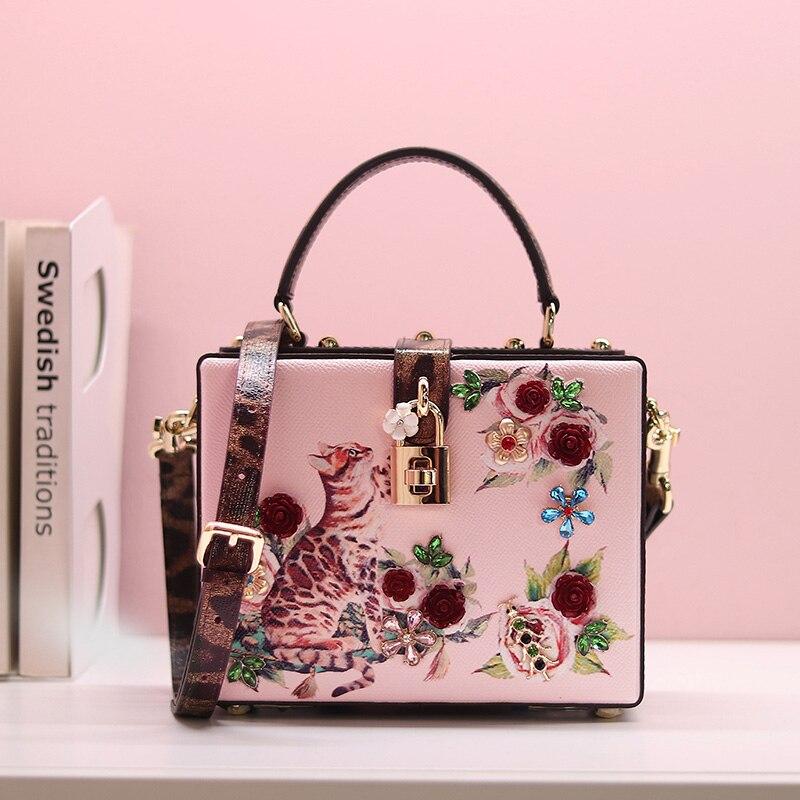 Luxury Designer Women Handbag Genuine Leather Embellished Cat-print Pattern Box Bag Branded Lady Shoulder Bag 2018 luxury branded design women twill trimmed printed genuine leather shoulder bag