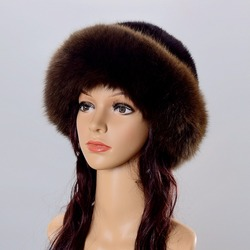Real Fur Hat Winter For Womens Natural Mink Fur With Fox Fur Hat Caps Luxury Brand Trendy New Solid Russian Sun Knitting Hats