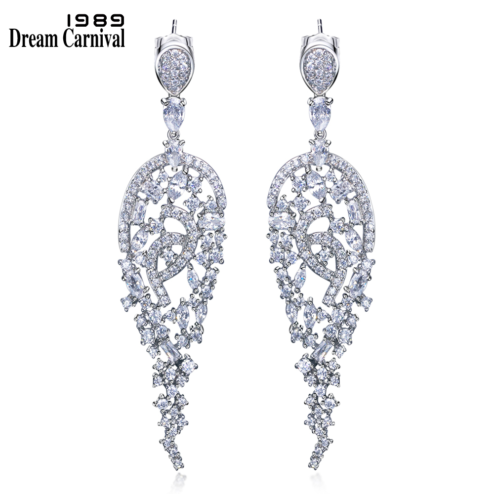 DreamCarnival 1989 Filigree Hollow design 2018 New Drop Earrings Gold Rhodium Color Clear Cubic Zirconia Long earrings SE04550 carved filigree teardrop earrings