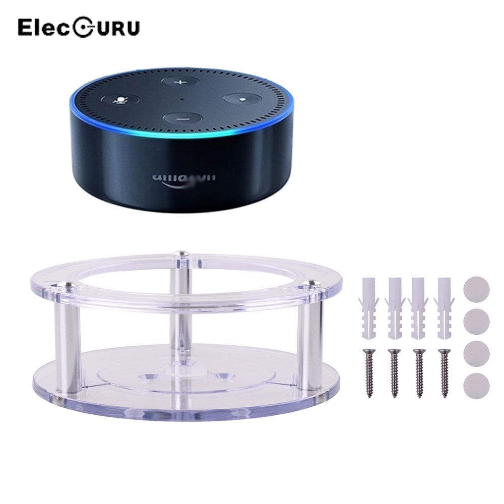 Per Amazon Alexa Echo Dot 2 Generation Speaker Holder Supporto a muro Staffa di protezione Supporto acrilico con viti Trasparente / Nero