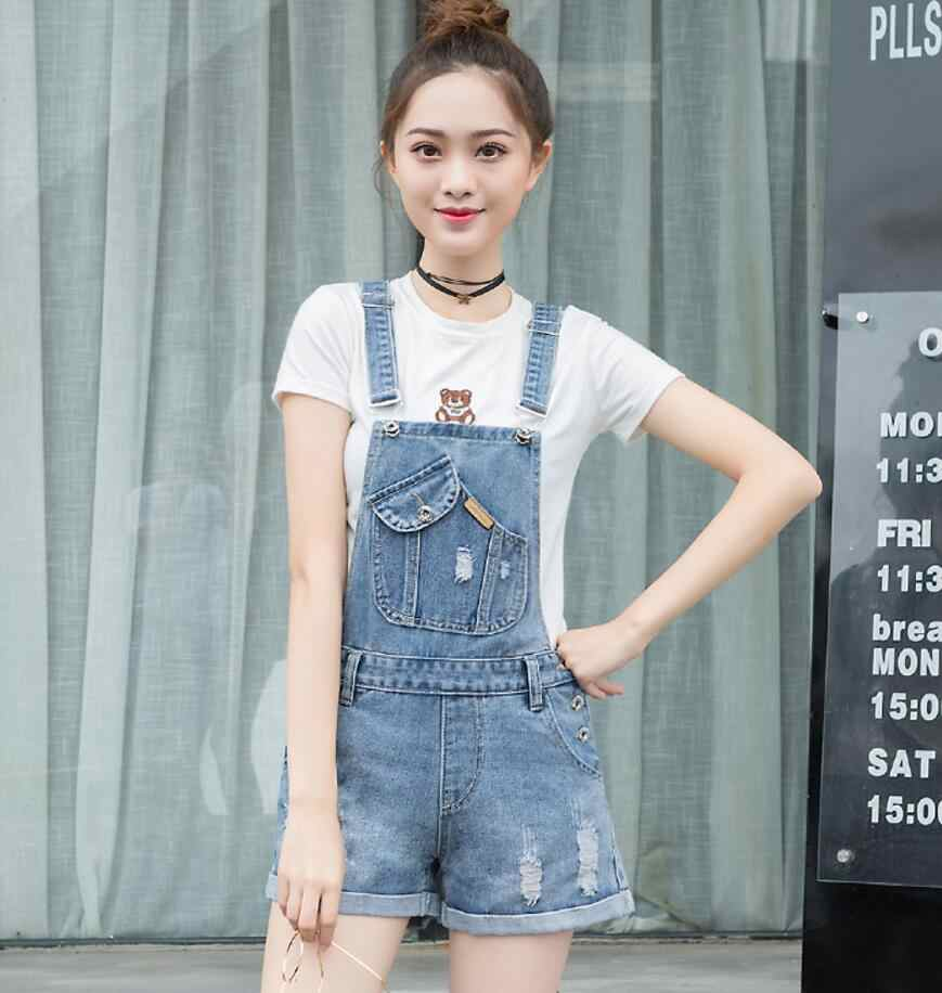 787747aab4bf 2018 new summer Hole Denim Jumpsuit Romper For Women Denim Coverall  Playsuit Short Jeans Female Jeans