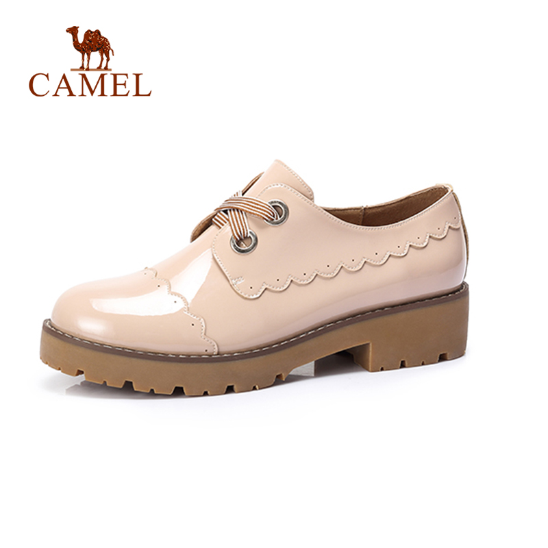 CAMEL Autumn New Ladies Fashion Casual Retro Lace Med Heel Pumps Shoes Women Sweet Round Leather Shoes Female camel shoes ladies sweet bow sheepskin shoes elegant ladies increased within shoes soft surface a93194626