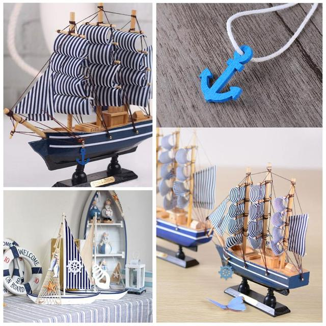 100pcs DIY Wooden Maison Buttons  Anchor and Helm Wooden Pendants Home Decor Scrapbooking Home Decoration (Random Color) 6