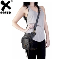 XCOSER Retro Steampunk PU leather Bag Adjustable Belt Combination Waist Bag Cosplay Costume Accessories For Women