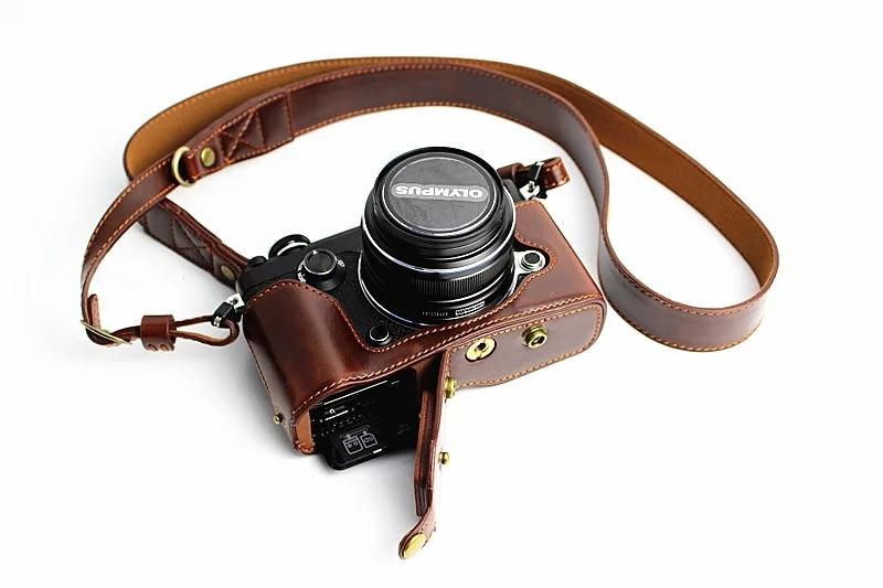 High-grade Retro Vintage PU Leather <font><b>Camera</b></font> Case Bag For <font><b>Olympus</b></font> PEN-F PENF With Bottom <font><b>Battery</b></font> Opening