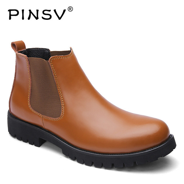 PINSV buty zimowe mężczyźni Chelsea buty skórzane buty męskie buty czarny jesień buty Chelsea męskie buty robocze Plus rozmiar 37 -45
