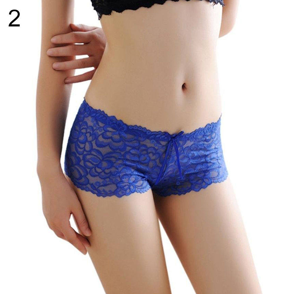 23733565ea0d Women's Free Size Bow Floral Lace Briefs Sexy Sheer Boyshorts Panties  Underwear -in women's panties from Underwear & Sleepwears on Aliexpress.com  | Alibaba ...