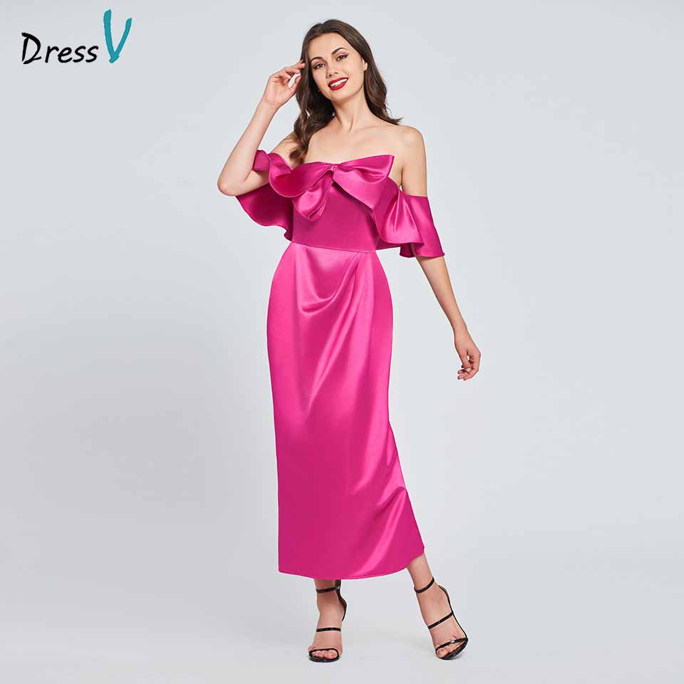 Dressv Fuchsia Cocktail Dress Elegant Off The Shoulder Ruffles Zipper Up Stain Wedding Party Formal Dress Cocktail Dresses