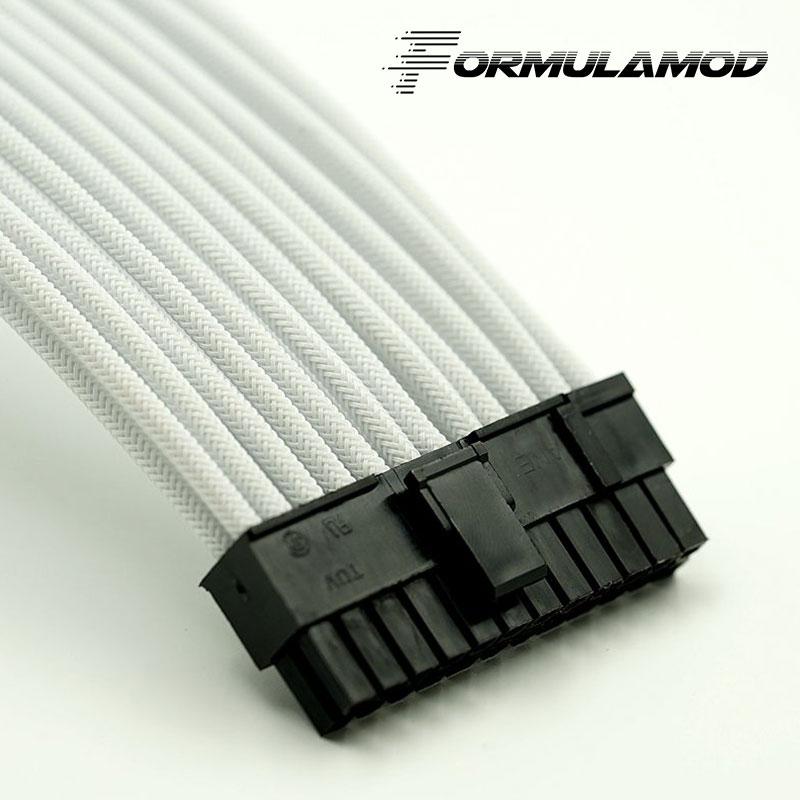 FormulaMod Fm-ATX24P-A, ATX 24Pin материнская плата удлинитель, 18AWG 24Pin многоцветные соответствующие кабели расширения - Цвет лезвия: White