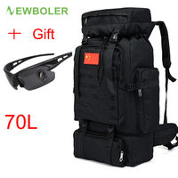 Large Military Backpack 70L Waterproof Tactical Black Outdoor Sports Mountain Travel Rucksack Hunting Hiking Camping Army Bag