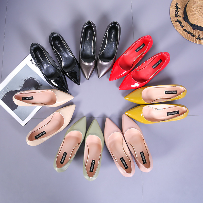 2018 Women's sandals single shoes shallow mouth with 5cm high heels nude color fine with wild sexy shoes S061-1 14cm sexy fine with nightclub shiny diamond high heels spring and autumn shallow mouth princess wedding shoes