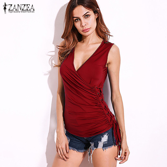 5a9020ea81 2017 ZANZEA Women Plunge Deep V Low Cut Tops Blusas Sleeveless Slim  Stretchy Tank Tops Camis Camisole Tee Fit Oversized
