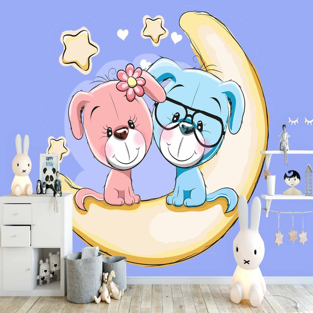Else Blue Floor Yellow Moon Pink Cute Puppy Dogs 3d Print Cartoon Cleanable Fabric Mural Kids Children Room Background Wallpaper