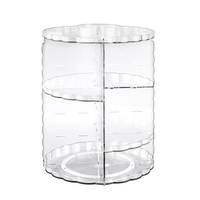 Women Functional Storage Box Transparent Makeup Organizer Eco Friendly Acrylic Storage Box Cosmetics 360 Degree Rotate