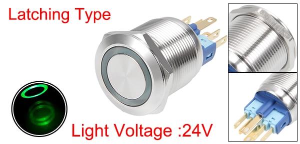 uxcell Latching Metal Push Button Switch 19mm Mounting Dia 1NO 1NC 12V Yellow LED Light 1pcs