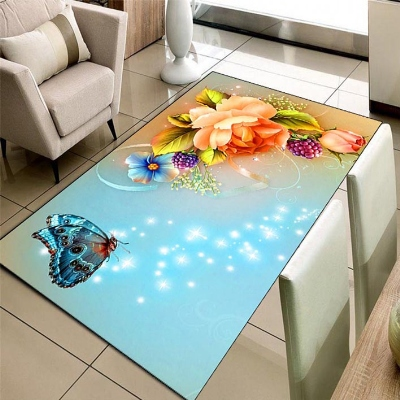 Else Blue Floor Orange Roses Butterfly Flowees 3d Print Non Slip Microfiber Living Room Decorative Modern Washable Area Rug Mat