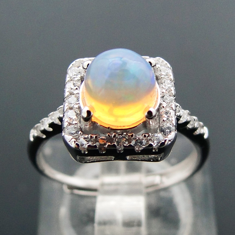 цена на DJ CH Natural Australian Opal Gemstone Ring Solid 925 Sterling Silver White Fire Opal Rings for Engagement/Wedding/Anniversary