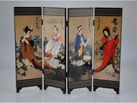 Oriental Chinese Golden Lacquer Folding Room Screen Divider Four Great Beauties>>>Free shipping