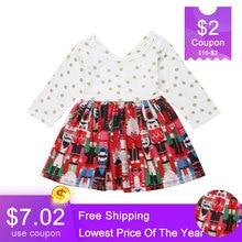 Christmas Toddler Kids Baby Girls Dress Princess Dot Bow Long Sleeve Party Festival Dress Tutu Dress For Grils DNOV