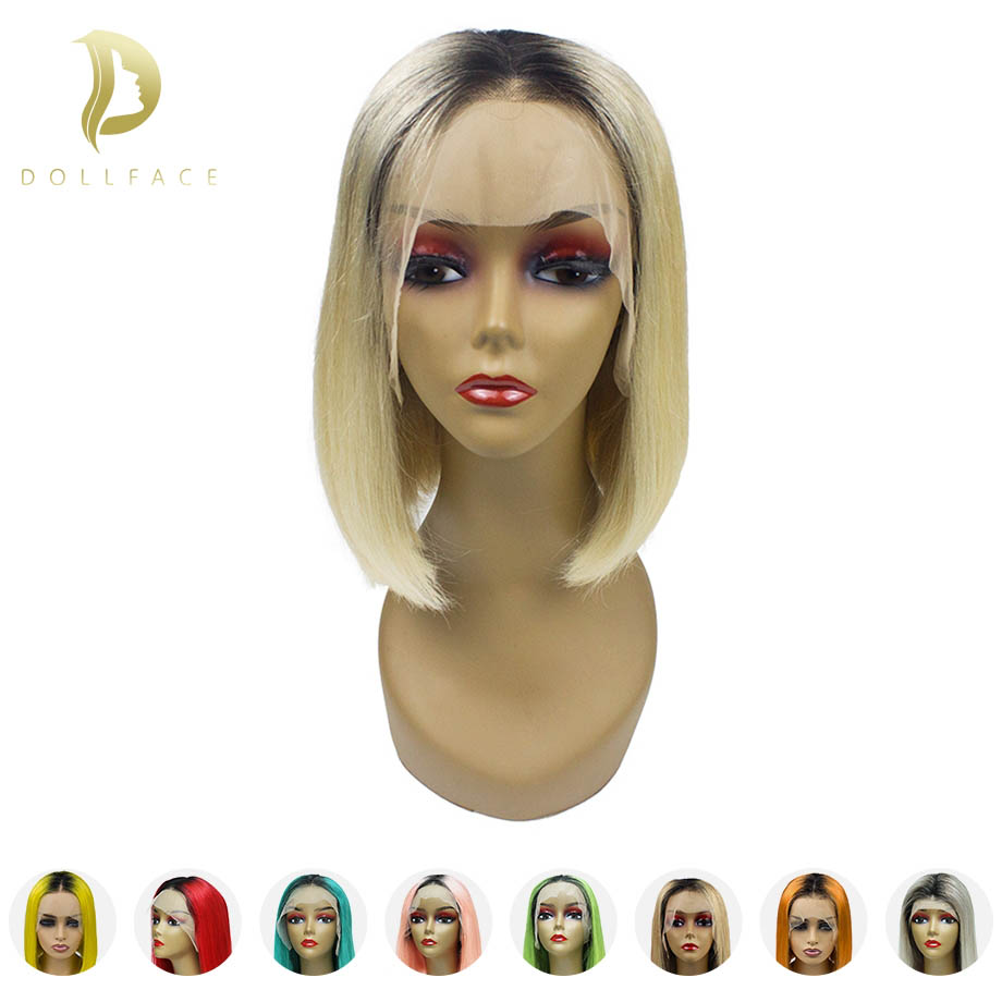 Ombre Short Lace Front Human Hair Wigs With Pre plucked Hairline Blonde Bob Wig For Black