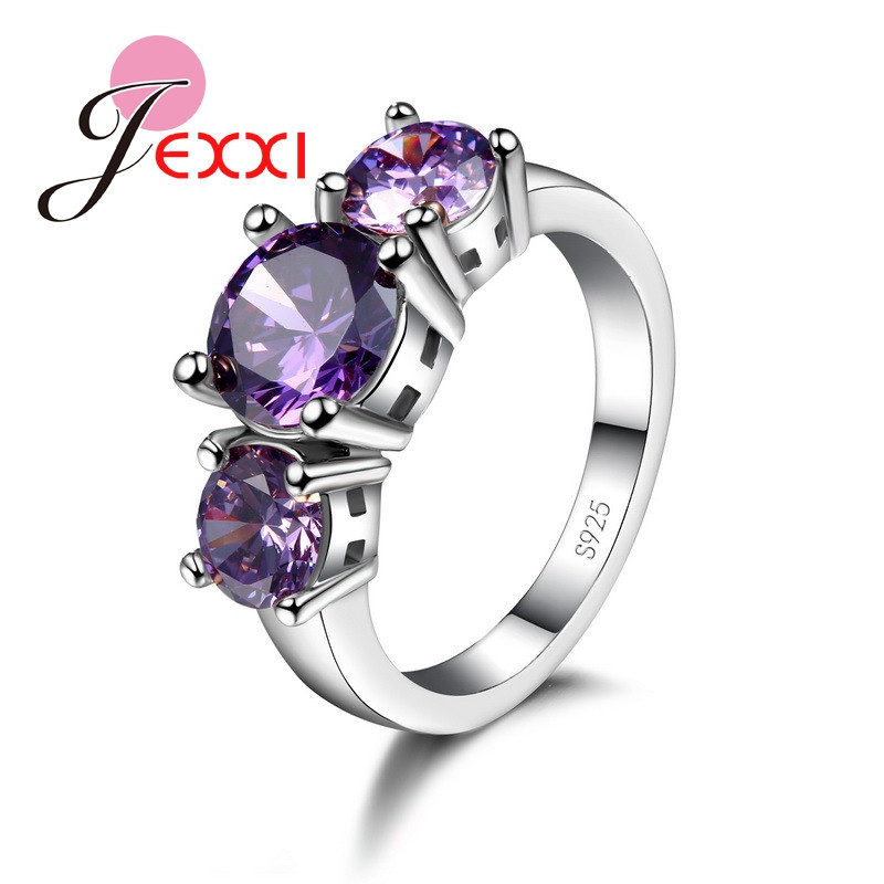 GIEMI Special 3 Purple Round Stone Style Rings For Women Trendy Wedding Pattern 925 Sterling Silver Jewelry Birthday Party Gifts