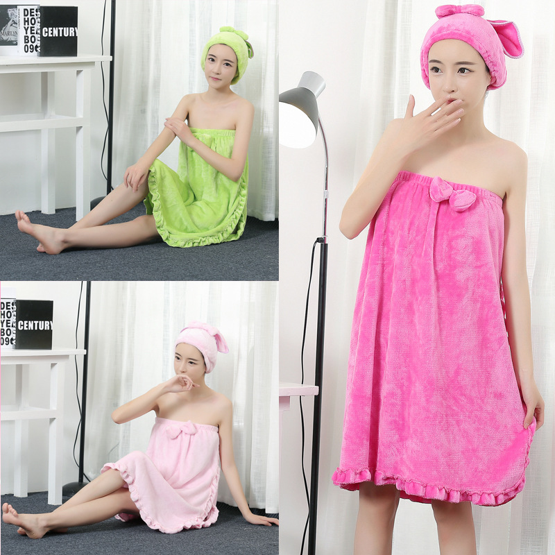 Sexy Women Microfiber Bath Towel Bath Robe Bathrobe Body Spa Bath Bow Wrap Towel Super Absorbent Bath Gown