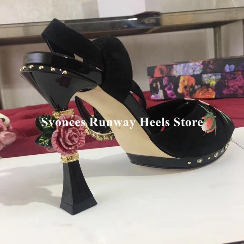 Sandalias de Mujer de lujo 2019 3D flor tacón plataforma Sandalias flatbacks Stiletto tacones altos Floral negro zapatos de Mujer de fiesta Size42-in Sandalias de mujer from zapatos    2