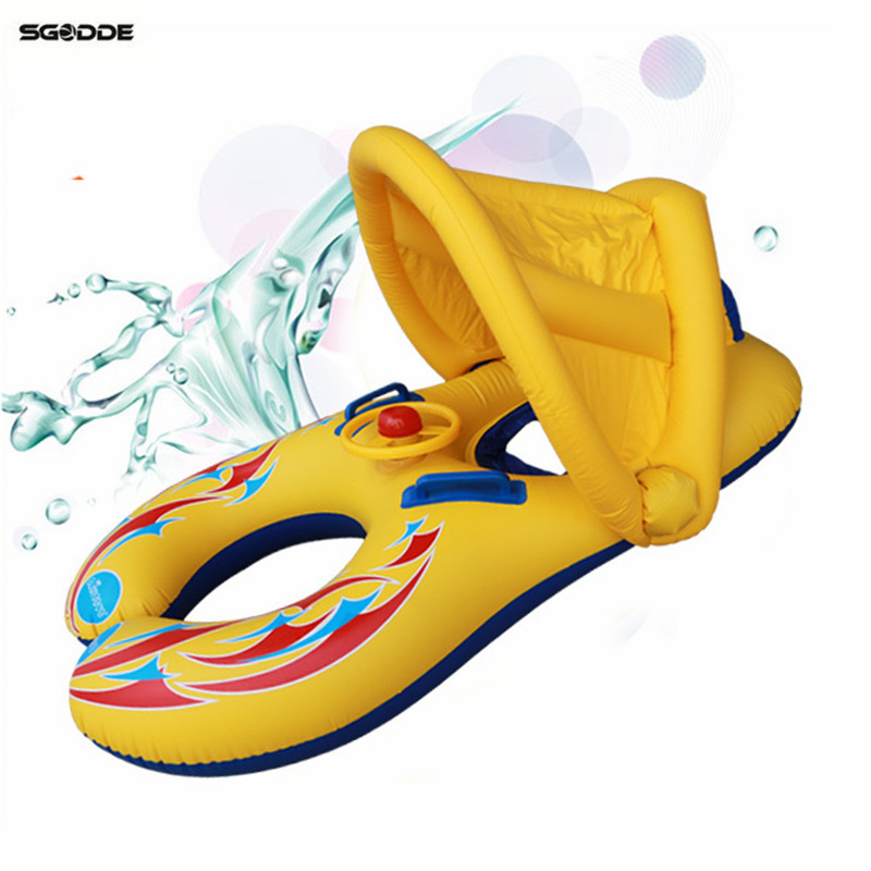 Mother Baby Swimming Pool Float Inflatable Children Safety Ring Seat Canopy Swim Float Swimming Pool Toys Water Mattress