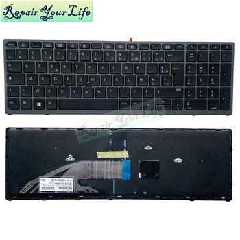 AZERTY Light laptop French keyboard For HP ZBOOK 15 G3 17 G3 G4 FR UK English with backlit Pointing original blue grey frame fr french keyboard for acer s7 s7 391 s7 392 ms2364 silver backlit keyboard fr layout