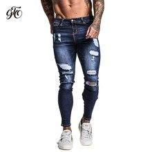 7b6fbd1a7e399 Gingtto Для мужчин узкие стрейч отремонтировать джинсы темно-синий хип-хоп  проблемных Super Skinny Slim Fit Хлопок удобные больш.