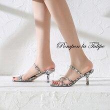 BHS 901139 Chic Square Toe 7CM High Heels Stilettos Genuine Leather Stylish Sandals Sheepskin Fashion Women Shoes Party Wedding