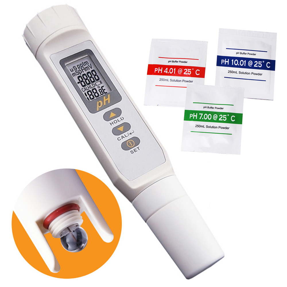 купить Digital Pentype pH Meter & Thermometer Waterproof IP65 Multi-Points Calibration Tester 0.00 ~ 14.00pH Range Water Quality Tester по цене 2902.13 рублей