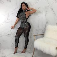 Black Halter Sexy Mesh Rompers Womens Jumpsuit Crystal Beading Overalls Backless See Through Bodycon Jumpsuit Plus Size XXL ME37