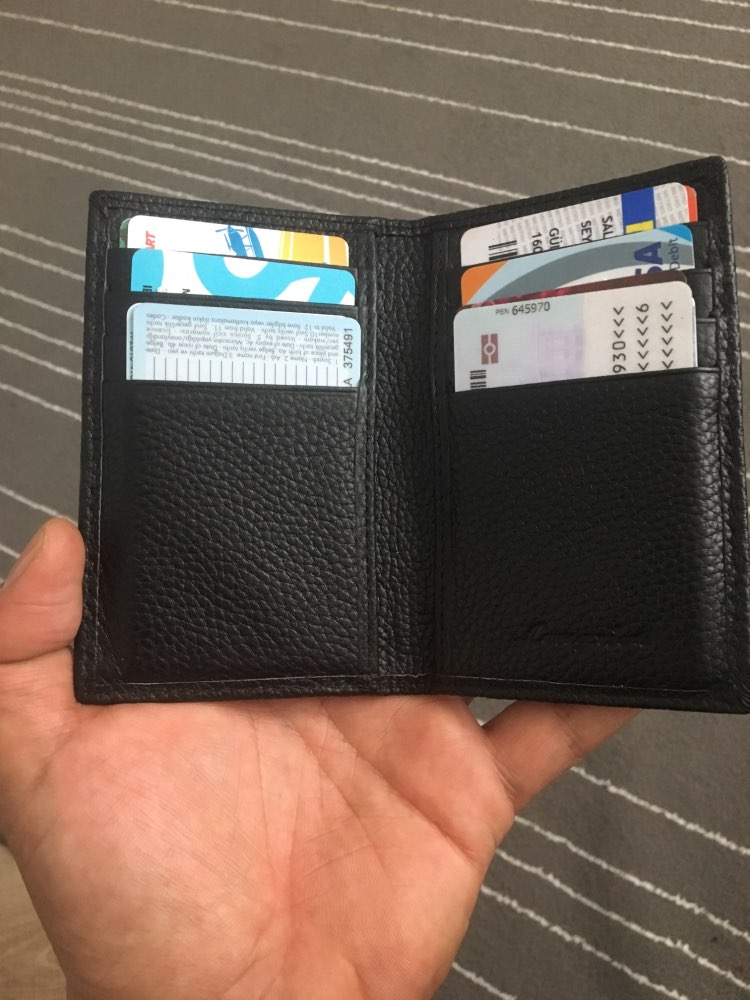 Top Genuine Leather Card Holder RFID Blocking Wallet Men Brand Business ID Credit Card Holder Fashion Cow Leather Card Purse R17 photo review
