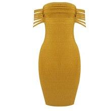 LZJ Vestido Rayon Bandage Dresses 2018 New Arrivals Summer High Quality Yellow Fringe Sexy Off Shoulder Bandage Dress Party