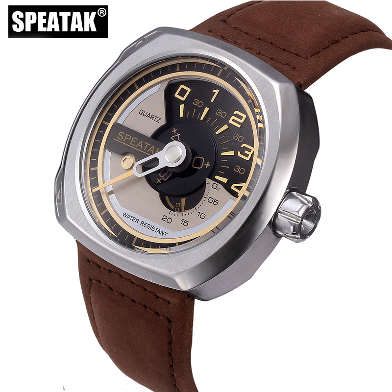 SPEATAK Watch Men Top Brand Luxury Quartz Military Watches Genuine Leather Sport Wristwatch Mens Clock Relogio Masculino new listing men watch luxury brand watches quartz clock fashion leather belts watch cheap sports wristwatch relogio male gift