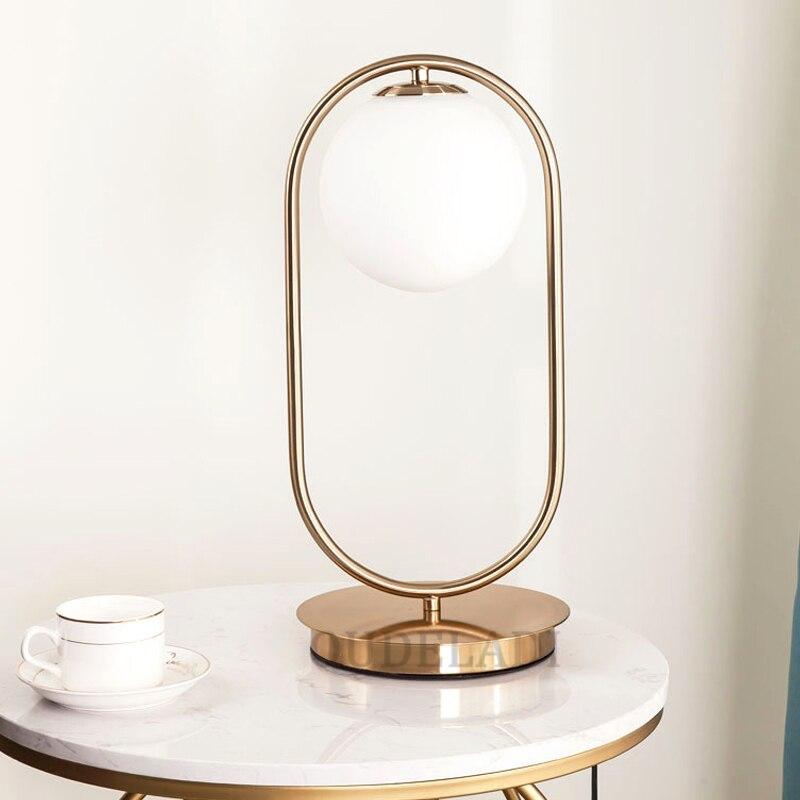 Nordic Art Deco Golden Body Table Lamp Metal Base Plate Modern