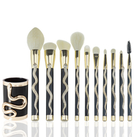 10 Pcs Golden Silver Snake Professional Cosmetic Makeup Brush Women Foundation Eyeshadow Eyeliner Lip Brand Make