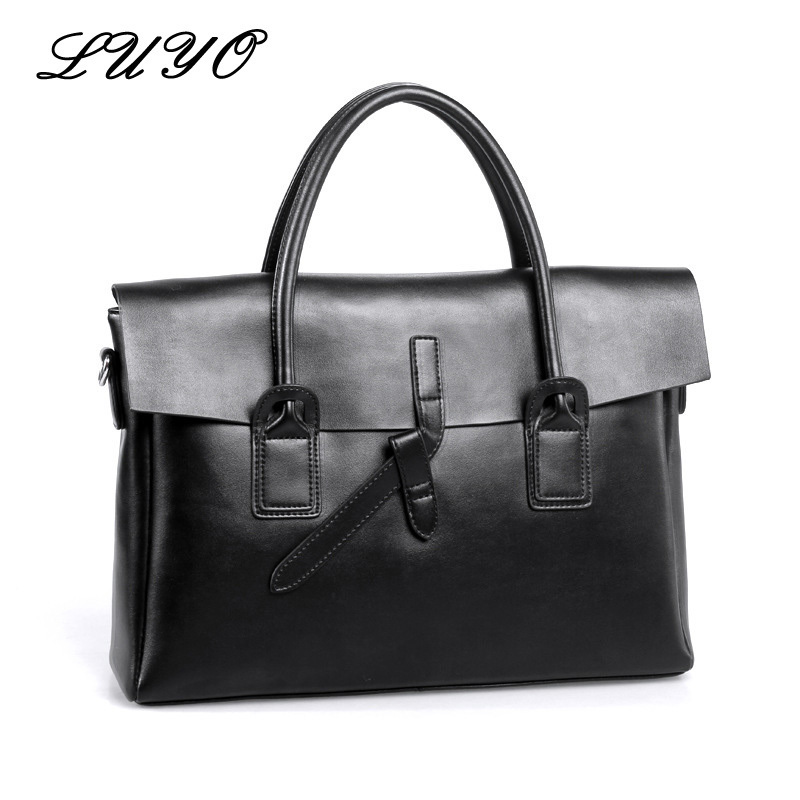LUYO New Arrival Vintage Genuine Leather Women Function Laptop Briefcase Portfolios Maleta Top-handle Bags Shoulder Bags Female