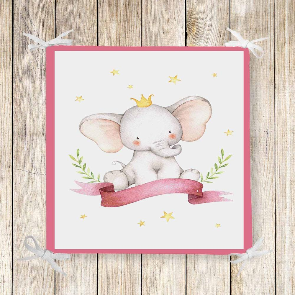 Else Pink Frame Elephants Stars Girls 3d Print Chair Pad Seat Cushion Soft Memory Foam Full Lenght Ties Non Slip Washable Zipper