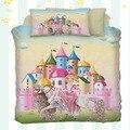 Еще 4 шт Цвет замок розовый принцесса на белых лошадках 3D принт хлопок сатин детское пуховое одеяло покрывало комплект постельного белья на...