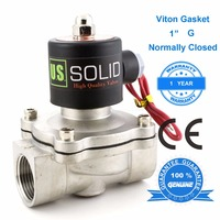 U.S. Solid 1 3/4 1/2 Stainless Steel Electric Solenoid Valve Normally Closed 24 V 12V DC 24V 110V AC, G Thread Air Water Oil