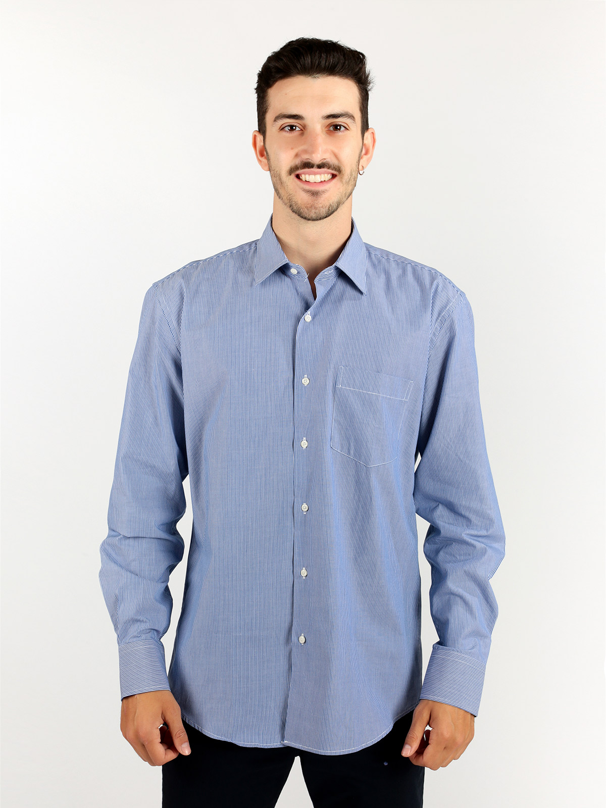 Striped Shirt With Pocket-Blue