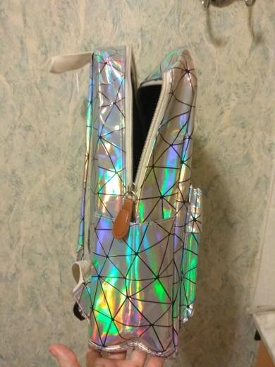 Yogodlns Geometric Holographic Backpack Travel Men Women Backpacks PVC Laser Shoulder Bag student school backpack casual photo review
