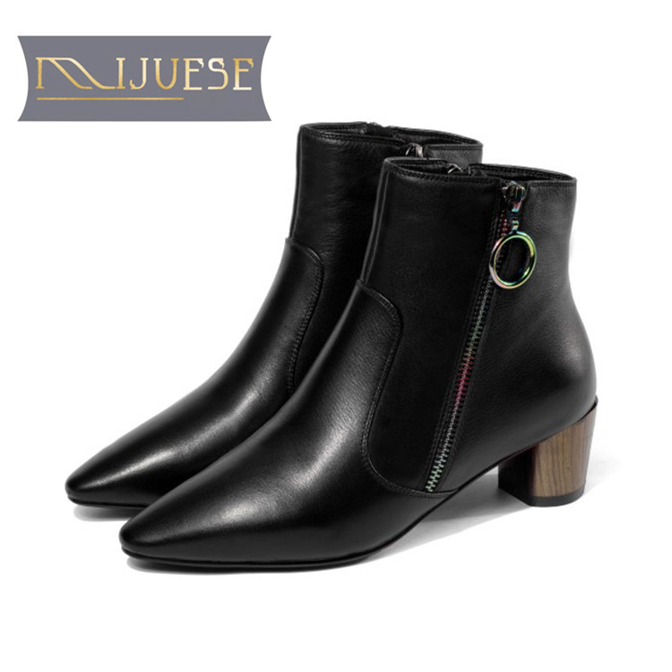 MLJUESE 2019 women ankle boots Cow leather zippers pointed toe painted round heel winter short plush boots women boots size 40MLJUESE 2019 women ankle boots Cow leather zippers pointed toe painted round heel winter short plush boots women boots size 40