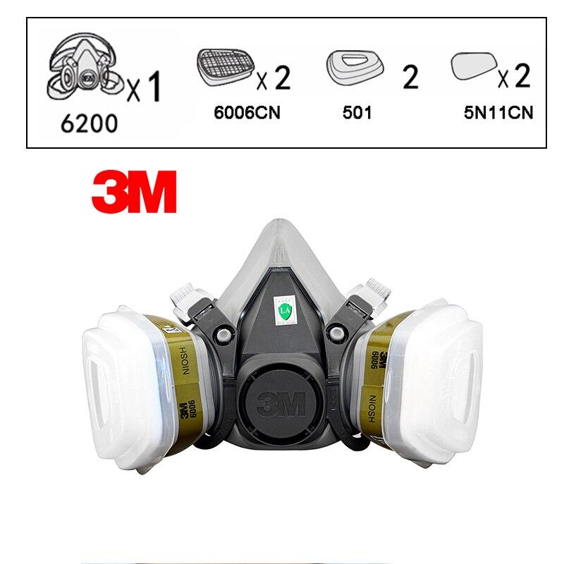 3 M 6200 + 6006 demi-masque masque respiratoire rénové laboratoire formaldéhyde masques à gaz NIOSH & LA Satandards masque de protection R82027