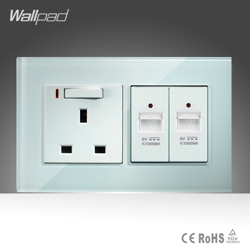 Double USB and 13A UK Switched LED Socket Wallpad 146*86mm BS CE White Crystal Glass UK Socket and  2 USB Socket  Free Shipping wallpad luxury double 13 a uk switched socket goats brown leather 1 gang switch and 13a wall socket with neon free shipping