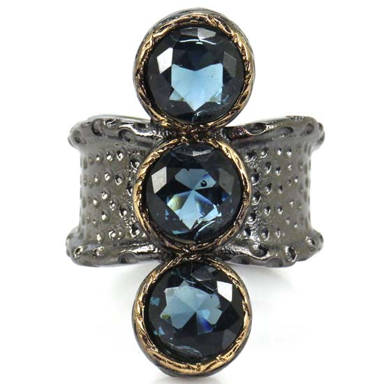 Wedding & Engagement Jewelry 7.5# Sublime Antique Vintage Dark London Blue Topaz Womans Black Gold Silver Ring 32x21mm Keep You Fit All The Time