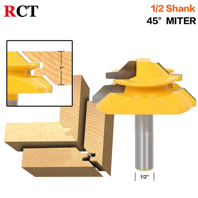 Large Lock Miter Router Bit - 45 Degree - 1 Stock - 1/2 Shank -Tenon Cutter for Woodworking Tools-RCT15293 high grade carbide alloy 1 2 shank 2 1 4 dia bottom cleaning router bit woodworking milling cutter for mdf wood 55mm mayitr