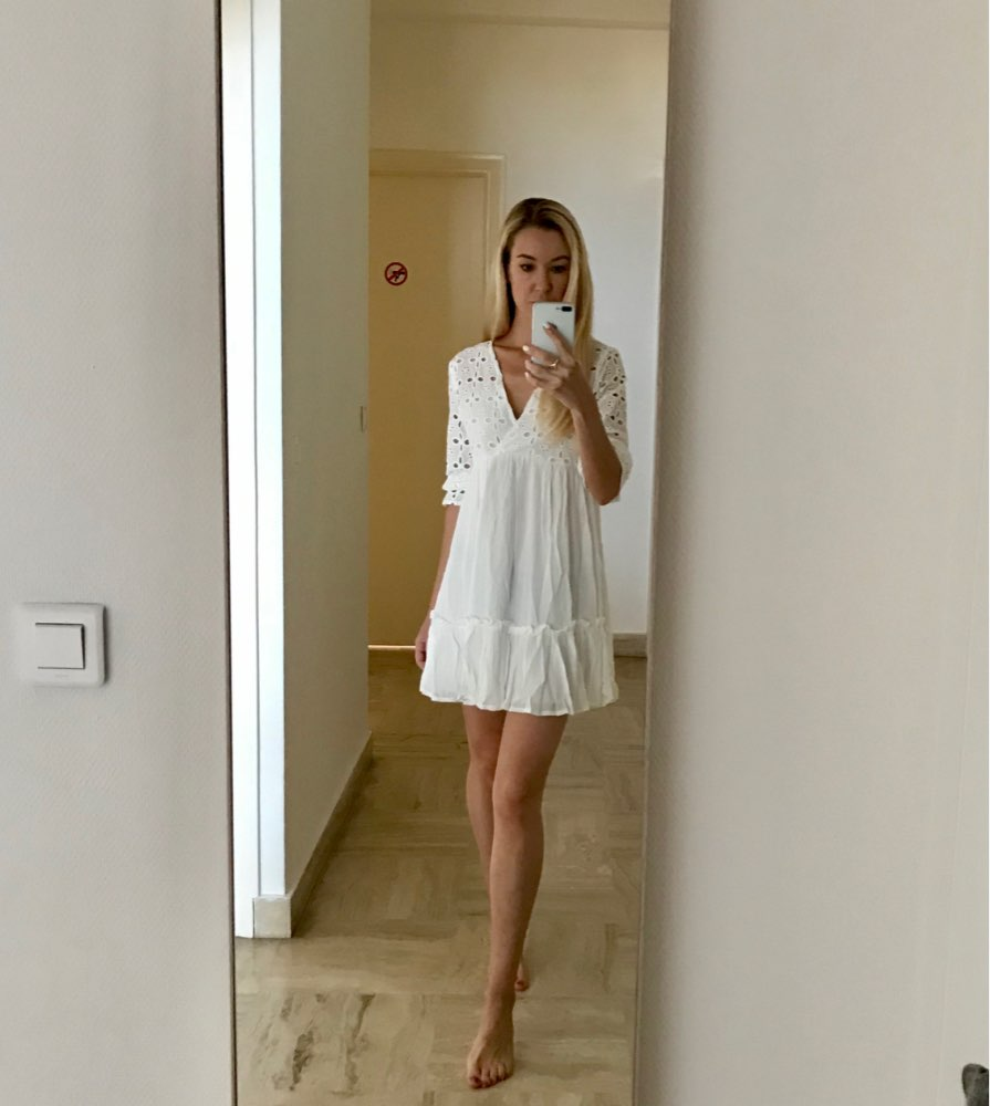 Elegant V Neck Embroidery Women Dress Ruffle Pleated Cotton Lace Up Summer Dresses Casual Sexy Hollow Out Dress Festa photo review
